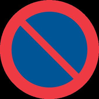 Förbjudet att parkera fordon.